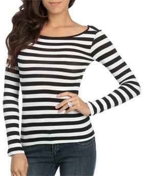 Wetseal Long Sleeve Striped Top Black -size Xs