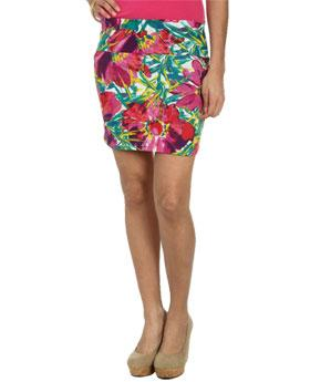 Wetseal Gypsy Floral Bodycon Skirt Bright Rose -size M