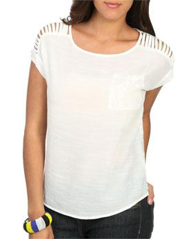 Wetseal Gauzy Lace Back Top White -size M