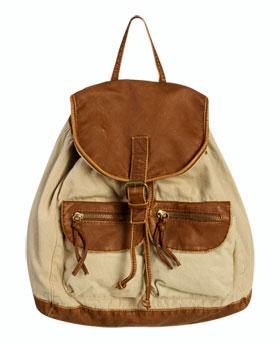 Wetseal Contrast Trim Canvas Backpack Cognac -size Ns