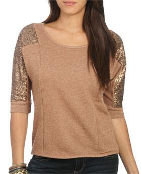 Wetseal Sequined Sleeved Sweatshirt Taupe -size Xs