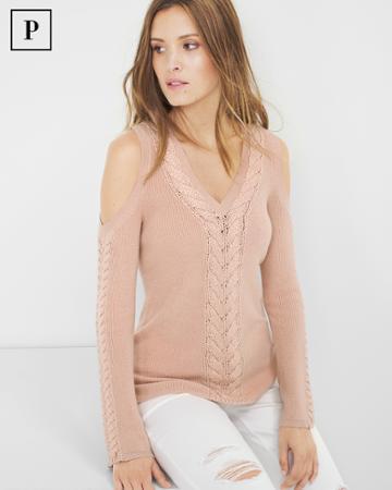 White House Black Market Women's Petite Braided-detail Cold-shoulder Sweater