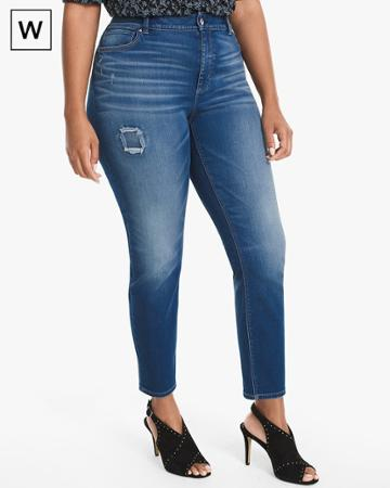 White House Black Market Women's Plus Distressed Skinny Ankle Jeans