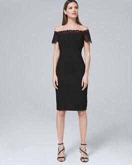 20712537514d White House Black Market Nicole Miller New York Off-the-shoulder Black  Sheath Dress