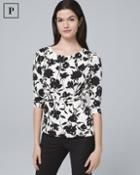 White House Black Market Women's Petite Draped-front Floral Top