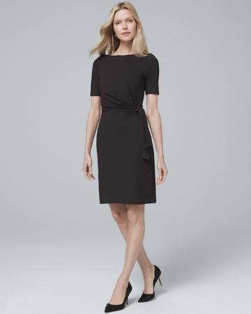 White House Black Market Women's Side-tie Black Knit Shift Dress