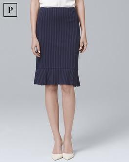 White House Black Market Petite Pinstripe Flounce Pencil Skirt