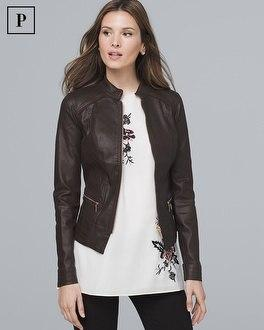 White House Black Market Petite Coated Moto Jacket