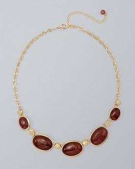 White House Black Market Strawberry Quartz Cabochon Short Necklace