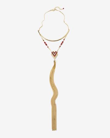 White House Black Market Women's Tassel Detail Collar Necklace