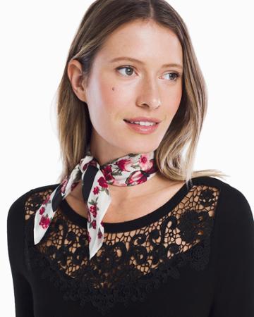 White House Black Market Women's Living Beyond Breast Cancer Silk Butterfly Print Mini Scarf
