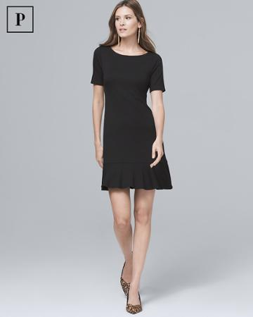 White House Black Market Women's Petite Flounce-hem Black Knit Shift Dress