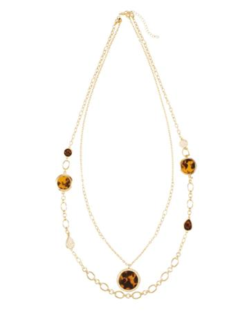 White House Black Market Women's Convertible Double Tortoise Pattern Pendant Necklace