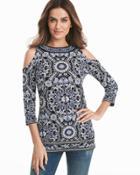 White House Black Market Women's Cold-shoulder Printed Tunic