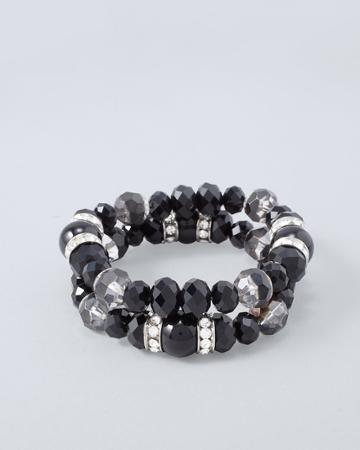 White House Black Market Women's Two-row Beaded Stretch Bracelet