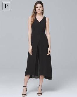 White House Black Market Petite Black Overlay Jumpsuit