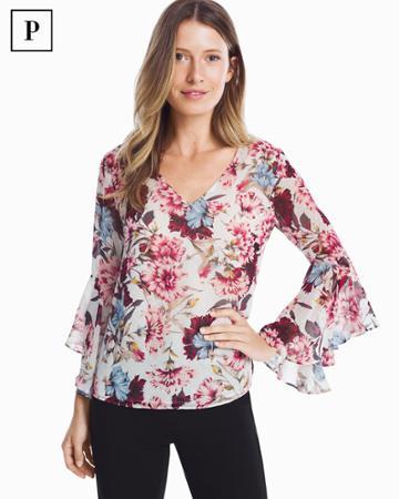 White House Black Market Women's Petite Floral Drape Back Blouse