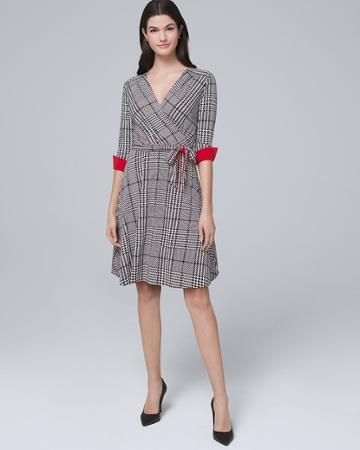 White House Black Market Women's Reversible Plaid/solid Faux-wrap Dress