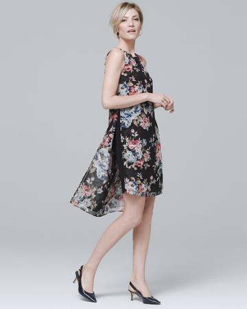 White House Black Market Women's Sleeveless Floral Woven Overlay Dress