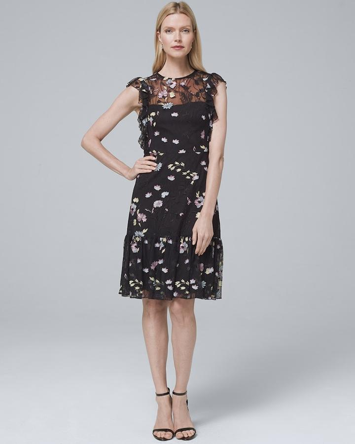 White House Black Market Women's Ml Monique Lhuillier Sleeveless Floral-embroidered Soft Fit-and-flare Dress