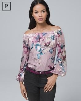 White House Black Market Petite Silk-blend Floral Burnout Off-the-shoulder Blouse