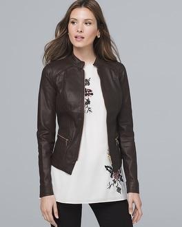 White House Black Market Coated Moto Jacket