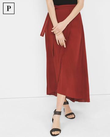 White House Black Market Women's Petite Wrap Maxi Skirt