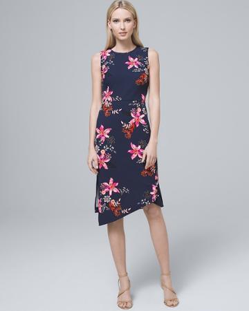 White House Black Market Women's Vince Camuto Asymmetric-hem Floral Sheath Dress