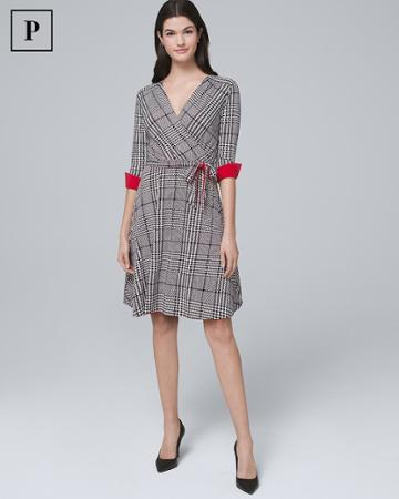 White House Black Market Women's Petite Reversible Plaid/solid Faux-wrap Dress