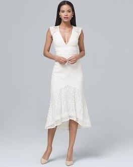 White House Black Market Ml Monique Lhuillier Fluted-hem White Lace Sheath Dress