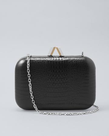 White House Black Market Women's Croc-embossed Box Bag