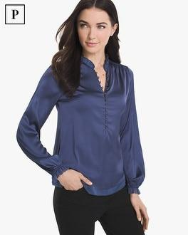 White House Black Market Petite Satin Blouse