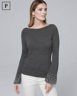 White House Black Market Petite Embellished-cuff Knit Top