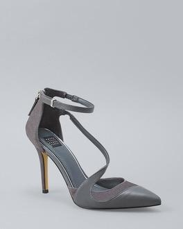 White House Black Market Strappy Suede & Leather Pumps
