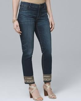 White House Black Market Curvy Embellished-hem Straight Crop Jeans