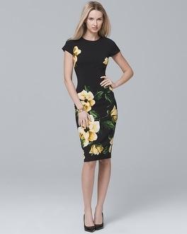 White House Black Market Short-sleeve Floral Sheath Dress