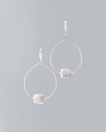White House Black Market Women's Block-accent Drop Hoop Earrings