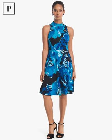 White House Black Market Women's Petite Sleeveless Mock Neck Floral Fit-and-flare Dress