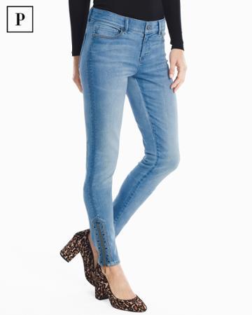 White House Black Market Women's Petite Embellished Zipper Hem Skinny Jeans