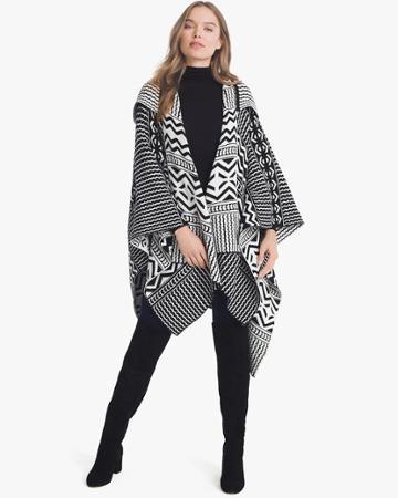 White House Black Market Women's Black & White Graphic Hooded Ruana