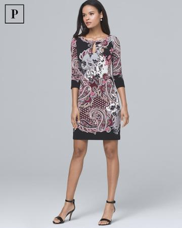 White House Black Market Women's Petite Paisley-print Knit Shift Dress