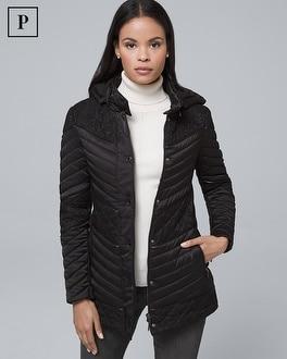White House Black Market Petite Removable Hood Lace-trim Puffer Coat