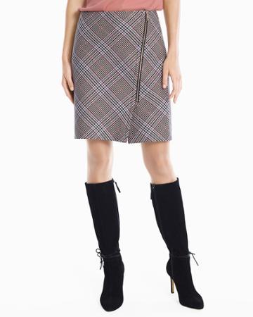 White House Black Market Women's Plaid Asymmetrical Zip-front Skirt