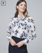 White House Black Market Petite Floral-print Knotted-neck Blouse