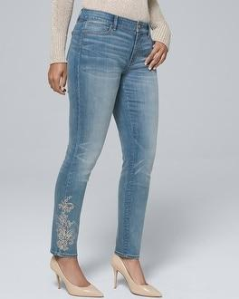 White House Black Market Curvy-fit Classic-rise Paisley-embellished Skinny Ankle Jeans