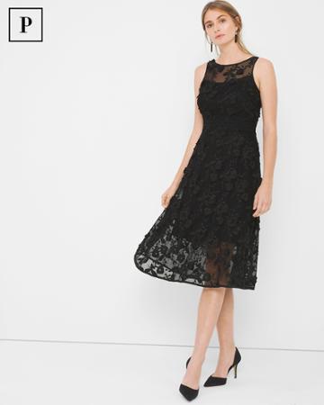 White House Black Market Women's Petite Black Lace Fit-and-flare Dress