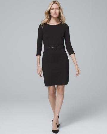 White House Black Market Women's Belted Black Knit Dress
