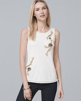 White House Black Market Floral-embroidered Shell