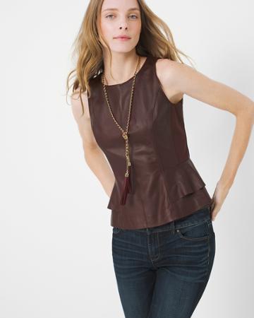 White House Black Market Women's Peplum Leather Bodice Top