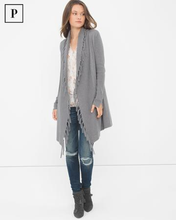 White House Black Market Women's Petite Fringe-trim Sweater Coverup